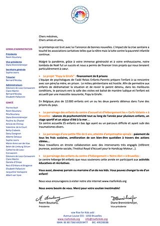 Newsletter - Printemps 2021 - Rise for Kids