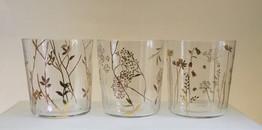 6 verres à décor floral doré