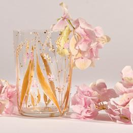 Paire de verres décorés de blé doré. Personnalisés par vos initiales.