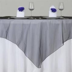 Charcoal organza table overlays