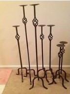 Large black iron floor candlesticks