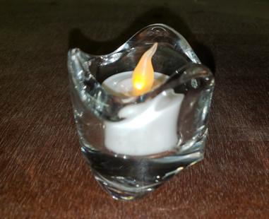 Glass votives with swirl design