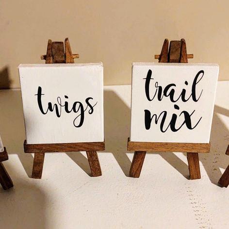 Trail Mix Bar signs
