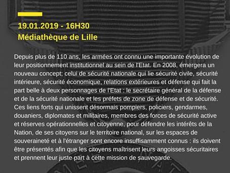 """Conférence """"Sécurité Nationale"""" / Médiathèque J. Lévy, Lille / 19 janvier 2019"""