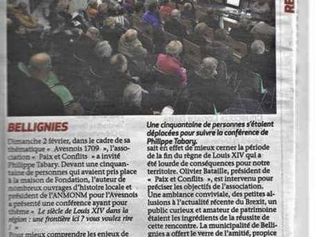 Retour presse / Le siècle de Louis XIV dans la région / Bellignies / février 2020