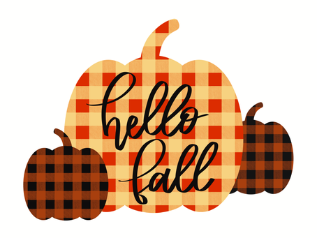 hello fall with buffalo check pattern
