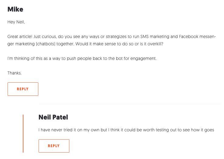 Neil Patel Blog Comment
