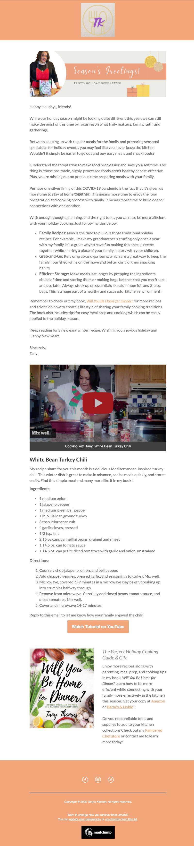 Tany's Kitchen December Newsletter