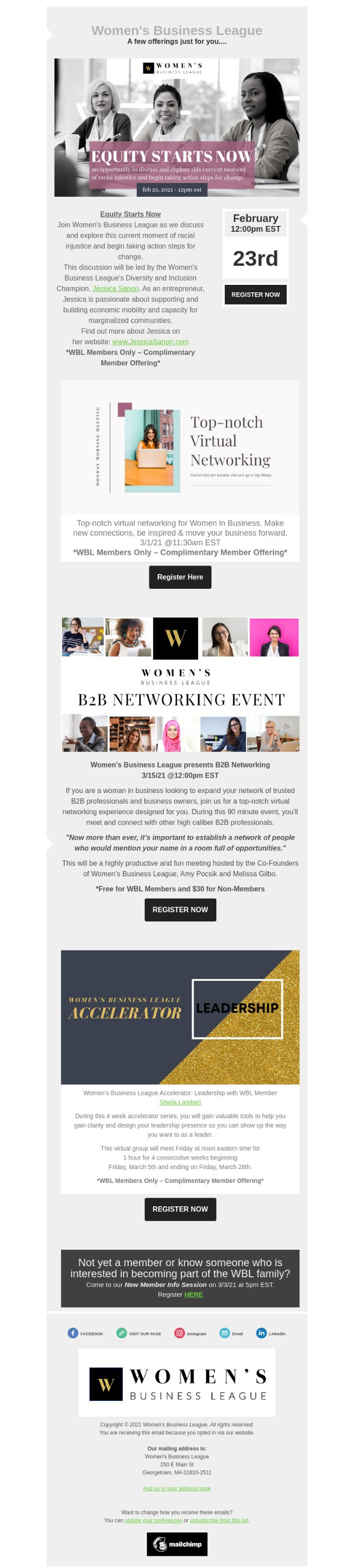 Women's Business League Events Email
