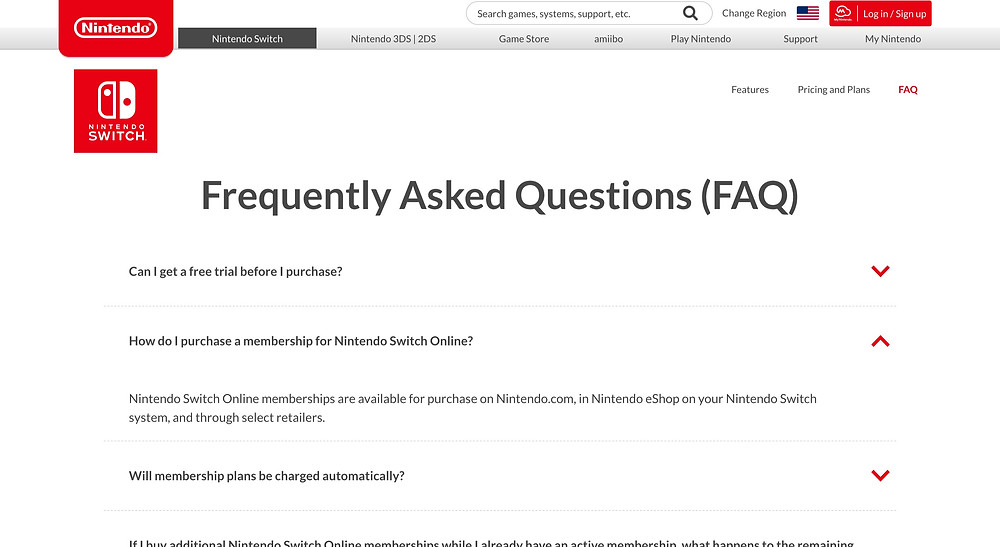 Nintendo FAQ Page Example