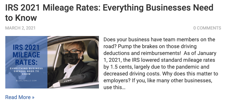 IRS 2021 Mileage Rates Blog Post