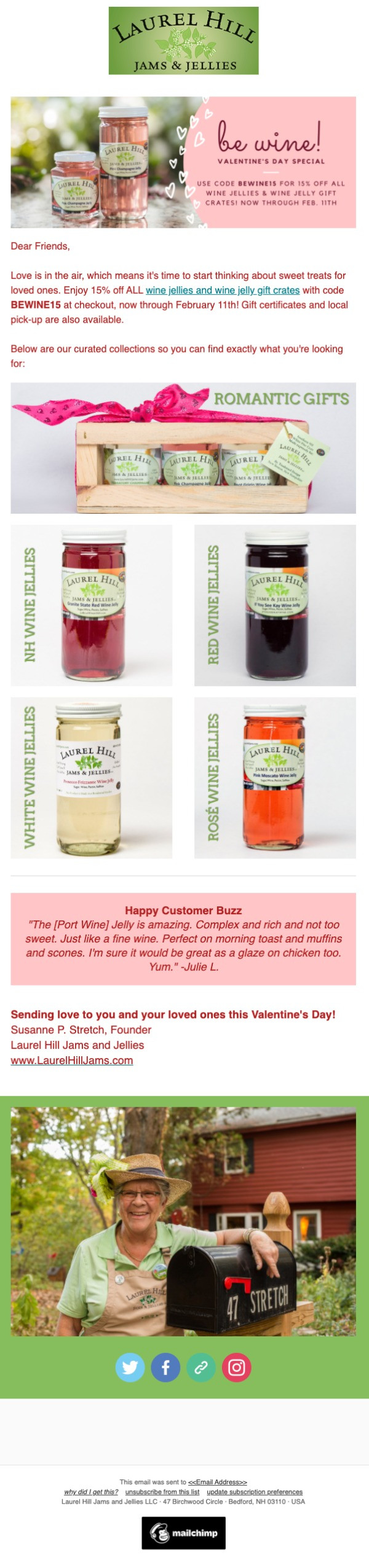 Laurel Hill Jams & Jellies Promotional Valentine's Day Email
