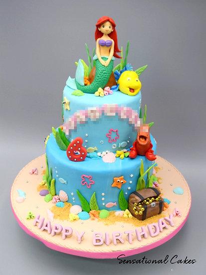 2 Tier Mermaid and Friends Children 3D Figurine Customized Cake