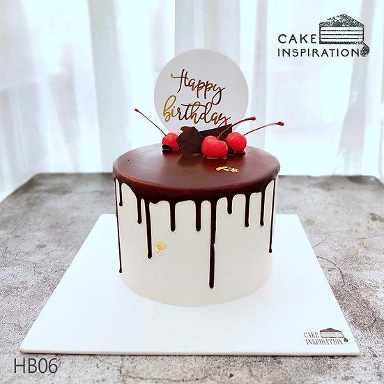 (HB06) Choc Drip Cherry Contrast Tone Theme Cake - 6inch
