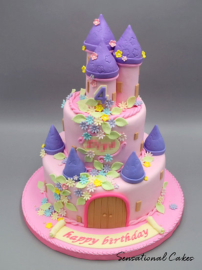 Pastel Pink Flower Castle Children Theme 3D Figurine Customized Cake
