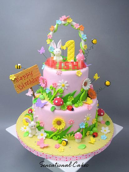 Rabbit Garden Children Theme 3D Figurine Customized Cake