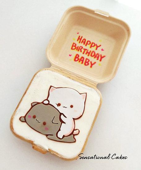 Playing Kittens Bento 2D Customized Mini Cake