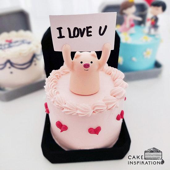 "Piggy Topper With ""I love You"" Tag Jewel Box Bento Cake (JB04)"