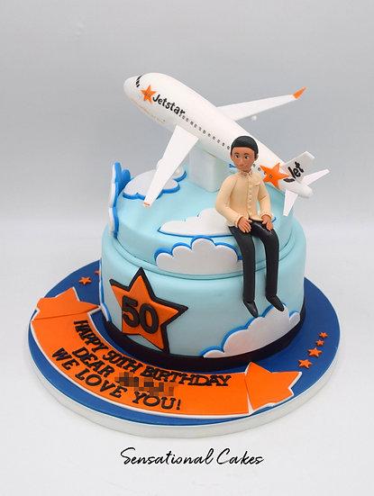 Airplane Travel Man Theme 3D Figurine Customized Cake