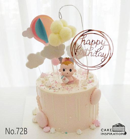 Sweet Little Baby Girl Hot Air Balloon Topper Cake ( no.72B ) - 6inch