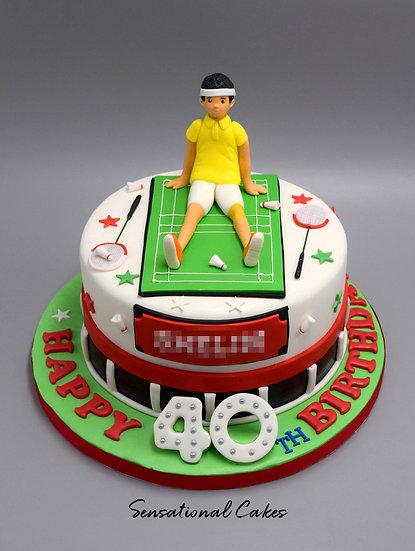 Tennis Athlete Man Theme 3D Figurine Customized Cake