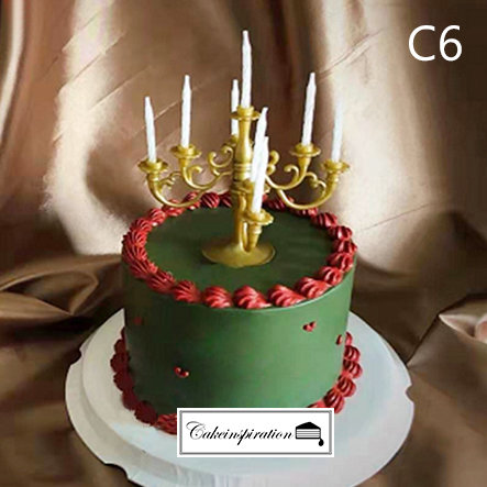 (C6) Vintage Green & Maroon Style Cake - 6inch