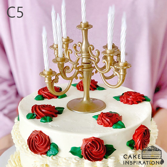 (C5) White Flora Vintage Style Cake - 6inch