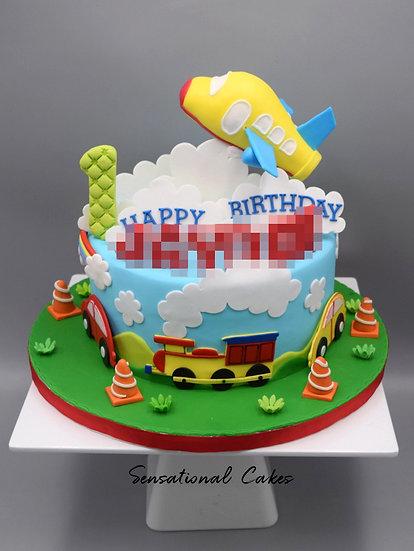 Traveling Children Theme 3D Figurine Customized Cake