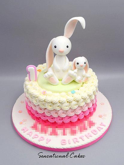 Bunny Rosette Children Theme 3D Figurine Customized Cake