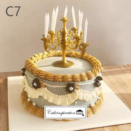 (C7) Grey White Golden Classical Style Cake - 6inch