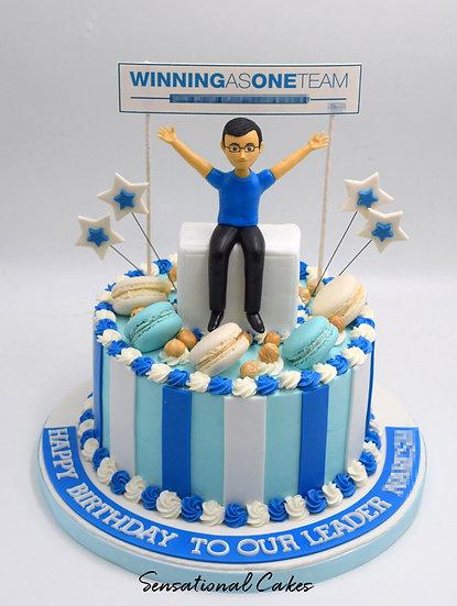 Corporate Employee Man Theme 3D Figurine Customized Cake