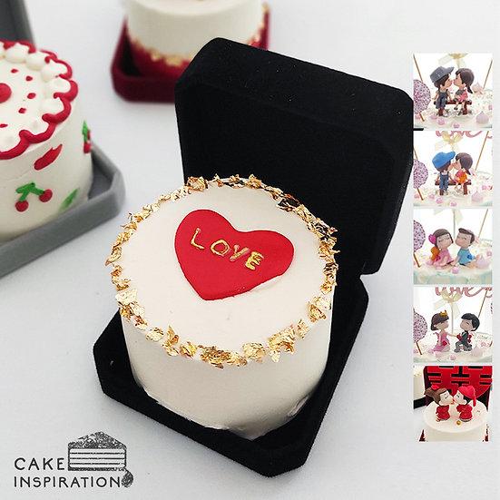 Simple Heart With Gold Flakes Jewel Box Bento Cake (JB07)