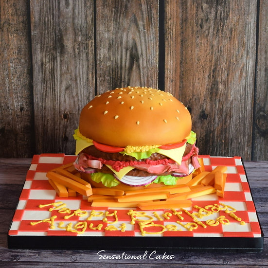 Hamburger Man Theme 3D Figurine Customized Cake