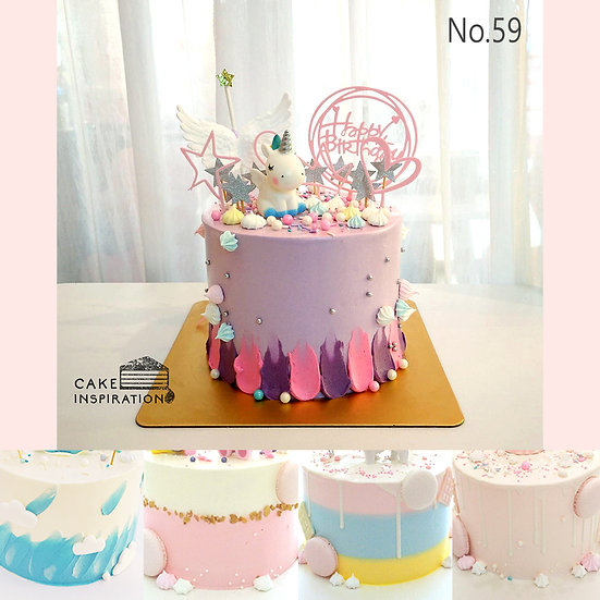 Cute Unicorn Tiara Wing Topper Cake ( no.59 ) - 6inch