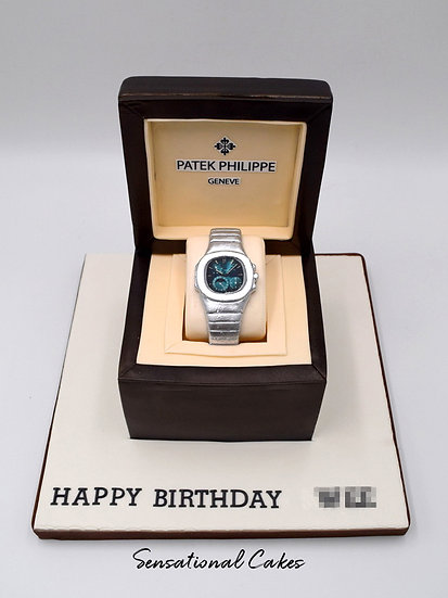 Luxury Silver Watch Man Theme 3D Figurine Customized Cake