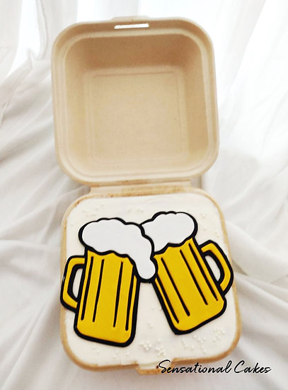 Beer Toast Bento 2D Customized Mini Cake