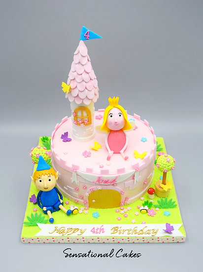 Princess and Prince in Pink Castle Children 3D Figurine Customized Cake