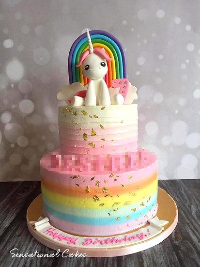 2 Tier Rainbow Unicorn Rosette Children Theme 3D Figurine Customized Cake