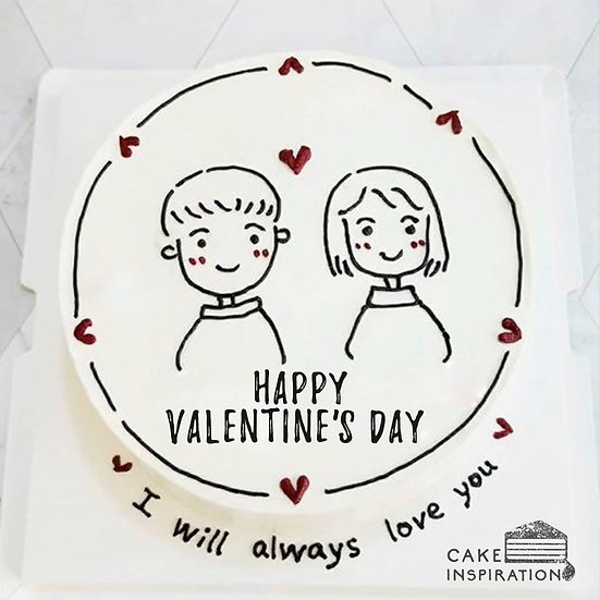 Cartoon Style - Couple Simple Cake (C55) - 5inch