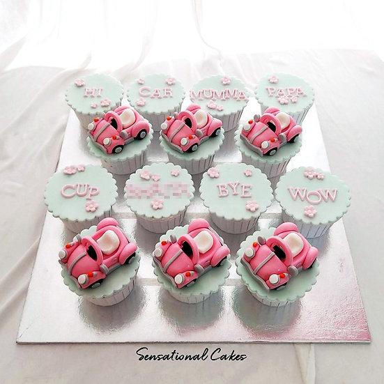 Pink Car Customized Cupcake