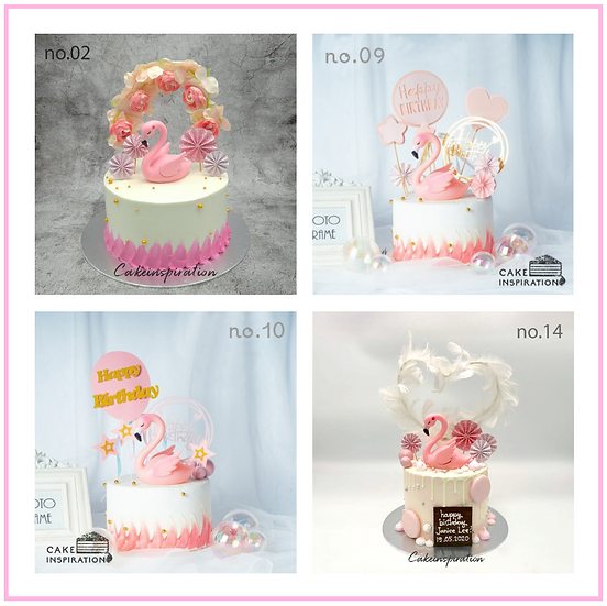 Flamingo Topper Cake ( no.02, 09, 10, 14 & 34 ) - 6inch