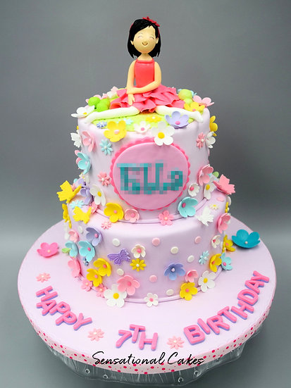 2 Tier Pink Floral Sweet Girl Children Theme 3D Figurine Customized Cake