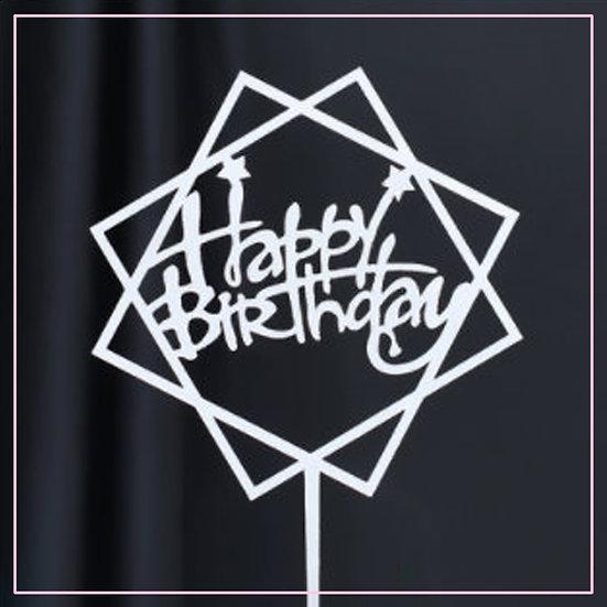 Cake tag - metallic - silver - hex - happy birthday