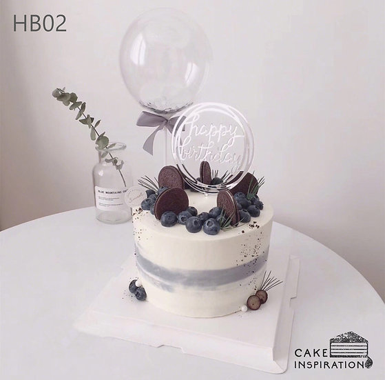 (HB02) Light Ombre Blueberry Oreo Silver Theme Cake - 6inch Freshcream