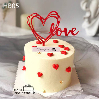 (HB05) Simple Heart Birthday Cake - 6inch Buttercream