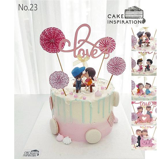 Couple Paper Wheels Love Topper Cake ( no.23 ) - 6inch