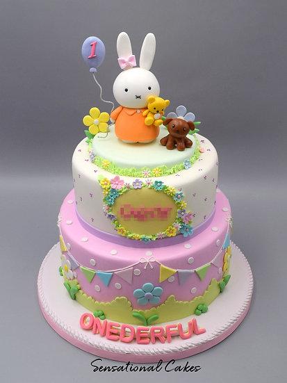 Bunny Girl Bunting Children Theme 3D Figurine Customized Cake