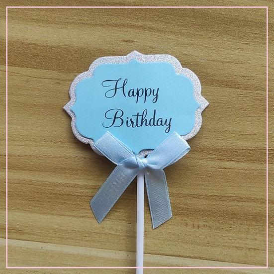 Cake tag - Paper Tag Blue Happy Birthday
