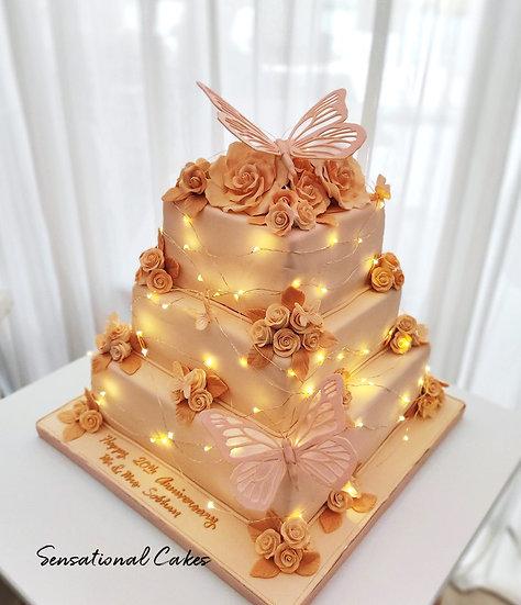 Rustic Butterfly Garden Wedding Theme 3D Customized Cake