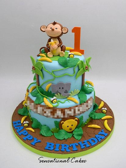 Animal Jungle Children Theme 3D Figurine Customized Cake